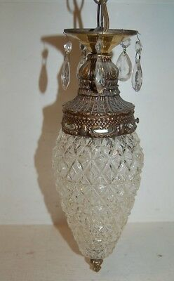 Vintage French? Ornate Brass And Glass Pineapple Chandelier, Ceiling Light