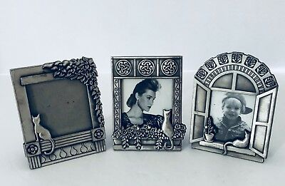 Three Vintage Mini Cat Pewter Picture Frames Cat Sitting in Window
