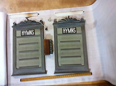 Beautiful antique church hymns boards with lights and box of letters/numbers