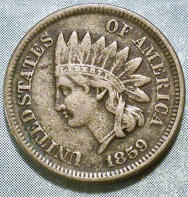 1859 Indian Head Penny VF+ CHOICE VERY FINE 1st Year! Nice LIBERTY ABE CAMPAIGNS