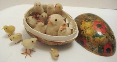 Old 1930s German Cardboard Candy Container Floral Egg w/ 13 Cotton Chicks TMP