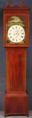 W Allan Georgian Inlaid Mahogany Case Arched Dial Longcase Grandfather Clock
