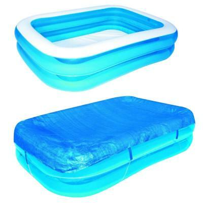 Kinder Family Pool Planschbecken Set eckig 211cm Swimmingpool inkl. Abdeckplane