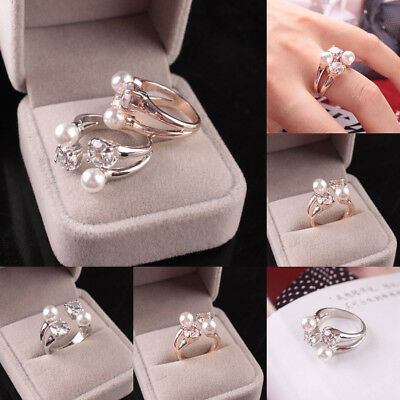 Vintage Open Jewelry Crystal Pearl Ring Band Wrap Rings Women Wedding Party Gift