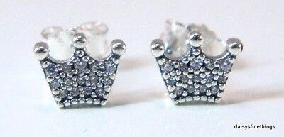 Authentic Pandora Silver Earrings Enchanted Hearts Studs #297127Cz  Hinged Box