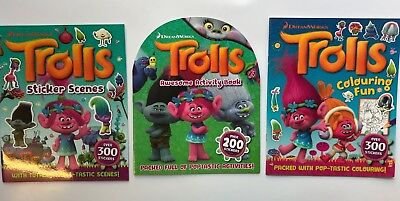 Set of 3 Trolls Sticker Scenes Colouring Fun & Activity Book Kids Age 2+ Yr Gift