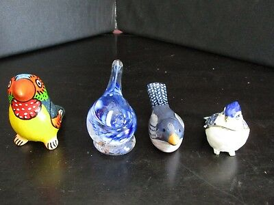 Collectible Bird Lot Blue Jay Trinket Box Paperweight Toucan Pottery Whistle Etc