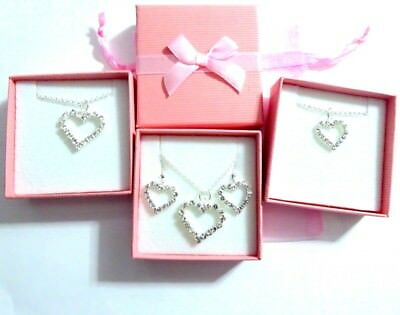 Bridesmaid Flower Girl Crystal Heart Necklace Gift 2 sizes & Earring option Box