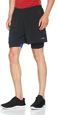Ronhill Men's Infinity Fuel Twin Shorts, Black/Flame, Small