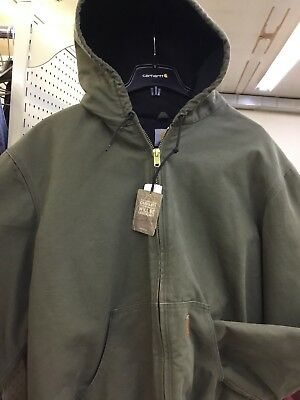 598d8774b24a1 Carhartt J130 Sandstone Duck Quilted Flannel Lined Jacket Army Green 2XL  TALL