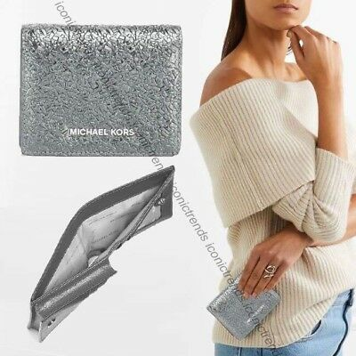 Nwt +Box Michael Kors Money Pieces Leather Flap Card Holder Wallet Pewter Silver