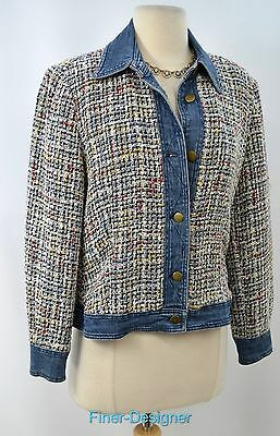CWC Coldwater Creek jacket bomber coat blazer tweedy denim bouncle Size PM VTG