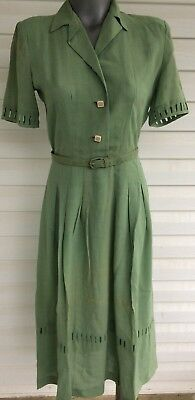 Vintage 1940s Green Linen Dress  Styles By Lynbrook