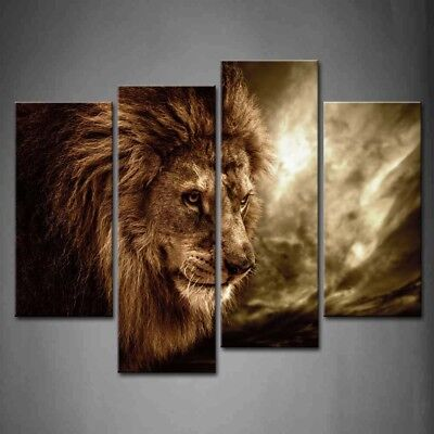 Framed Wall Art Home Office Decor Lion Painting Print On Canvas Animal Pictures