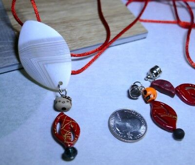 ScooterBee's Home Made Bolo Ties: Dark Hello Kitty Halloween Day of Dead Agate