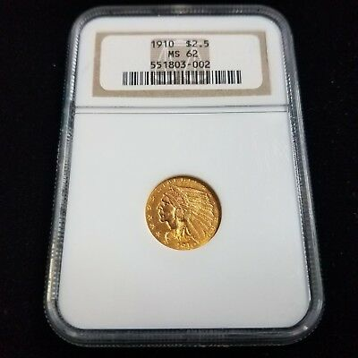 1910 Indian Head Gold $2.5 NGC MS62 2-1/2 Dollar Great Collector Coin CV3002