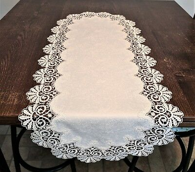 IVORY LACE PLACEMAT TABLE DOILY LIGHTHOUSE BEACH POLYESTER 20 X 14 IPML884