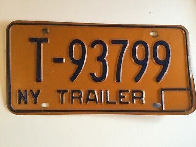 1970's 1980's NEW YORK License Plate NY Trailer T-93799 Vintage Man Cave Decor