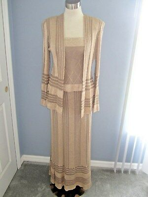 Damianou  New - 3 Piece Knit Size Small Long  Skirt, Camisole, Jacket Ice Taupe