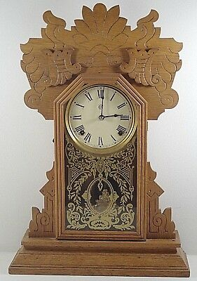 WATERBURY GINGERBREAD MANTEL KITCHEN CLOCK VINTAGE WITH KEY 1900's