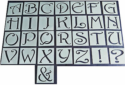 Shabby Chic vintage style Alphabet letter stencil 45mm/37mm Upper case large