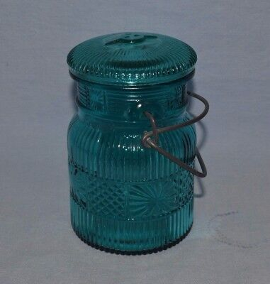 Vintage Avon  Blue/green Glass Colored Mason Jar With Clamp On Lid