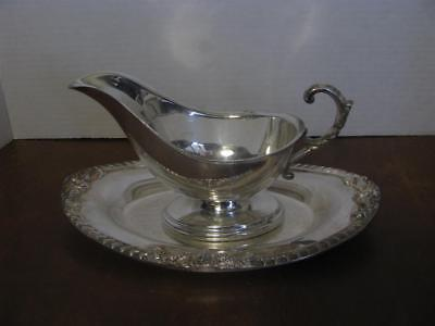 Ornate Gravy Boat With Seperate Under Plate Silver on Copper