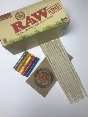 100 Ct - RAW Organic Hemp Cones King Size Pre-Rolled Cones w/ Filter + 5 J Tubes