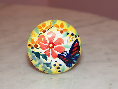 "Polish Pottery UNIKAT 1.5"" Diameter Drawer Pull! Butterfly Summer Pattern!"