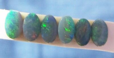 Set of 6 - 5 mm x 3 mm opal doublets, dark base, bright green flashes