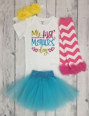 Mothers Day outfit for baby girl, 1st mothers day, Happy mothers day tutu shirt