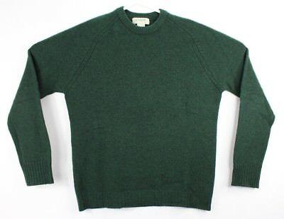 J. Crew Mens Small Crewneck Sweater 100% Wool Knit Hunter Green