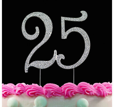 25th Birthday Cake Toppers Crystal Number 25 Bling