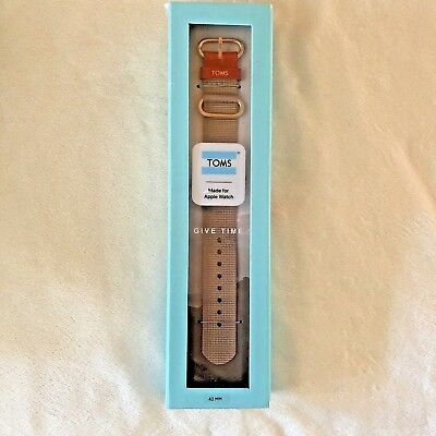 Toms For Apple Watch 42mm Watch Band Light Gray Woven Fabric New In Box NIB