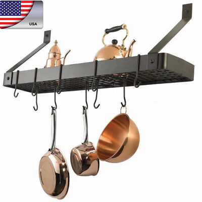 Pot Rack Holder Wall Mount Kitchen Organiser Hanging Pots Pans Hooks Storage US