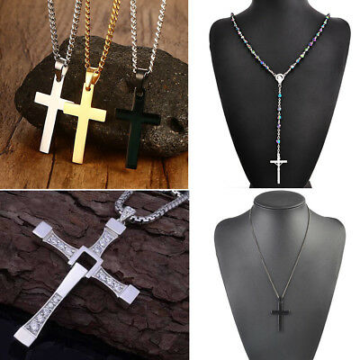 Men's Women's Gold Silver Cross Necklace Pendant Chain Fashion Jewelry Gift