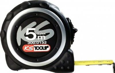 KS Tools 300.0132 Tape Measure With Locking Device And Belt Clip, Black Grey,