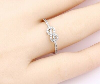 STERLING SIlVER Plated Stackable INFINITY Ring with Cubic Zirconia Stones size 7