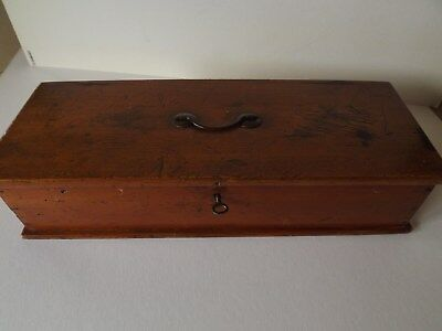 Vintage Polished Pine Child's Small Tool Box With Handle Lock And Key & Label