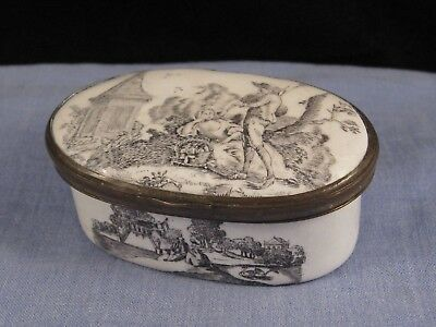 Victorian Antique Bilston Enamel Trinket Box Pill Pot English Gardens Courting