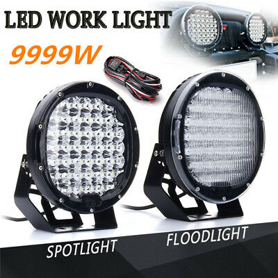 2X 9inch 9999W Round LED Work Spot Light Flood Lamp Offroad Truck SUV 4WD+Wiring