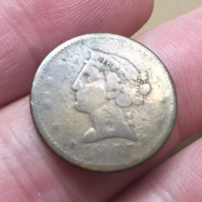 1855 dated gaming token imitation $5 Liberty half eagle