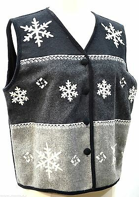 LIFE STYLE VEST SNOWFLAKE Ugly CHRISTMAS top HOLIDAY WOOL FLANNEL blnd L NEW VTG