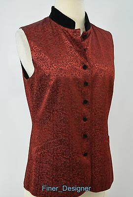 Coldwater Creek CWC lined button baroque satin velvet vest top sleeveless 8 NEW