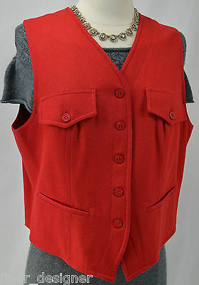 Ann Taylor Red smooth wool vest nautical button up suit top V neck SZ L VTG NEW