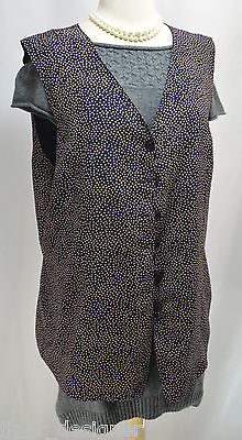 Alfred Dunner vest Light Button up V neck square dots sleeveless top size 16