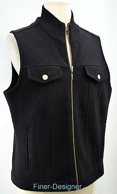 REAL CLOTHES SAKS FIFTH AVENUE Vest knit boiled wool sleeveless zip coat M VTG