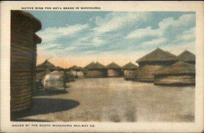 South Manchuria Railway Co Issued PC Soy Bean Bins c1920s-30s Postcard