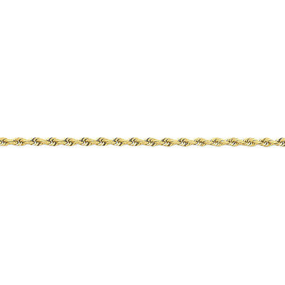 14k Yellow Gold 2.75mm Wide Solid,Diamond-Cut Rope Chain Anklet Ankle Bracelet