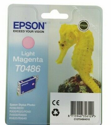 T0486 Light Magenta Epson New Genuine Original Ink Cartridge Seahorse